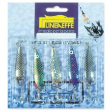 Блесна-колебалка Lineaeffe 7гр набор-5 шт. разных окрасок (серебро, золото)